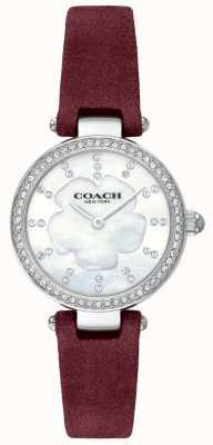 Coach Damski nowoczesny luksusowy bordowy skórzany pasek z masy perłowej 14503102
