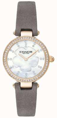 Coach Damski nowoczesny, luksusowy, szary, skórzany pasek z masy perłowej 14503104