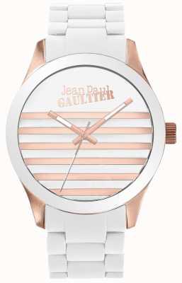 Jean Paul Gaultier Enfants terribles unisex biały i różany złoty zegarek z gumy JP8501126
