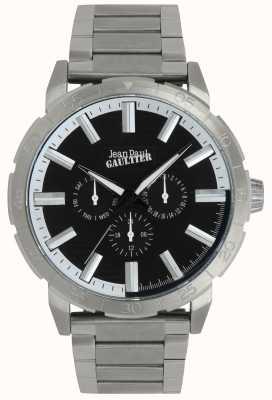 Jean Paul Gaultier Bomber męska bransoleta ze stali szlachetnej zegarek czarna tarcza JP8505404