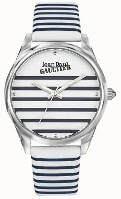 Jean Paul Gaultier Granatowy damski pasek ze skórzanym paskiem do zegarka JP8502416