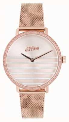 Jean Paul Gaultier Glam granatowy damski zegarek z różowej, złotej bransolety z siatką JP8505601