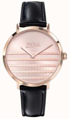 Jean Paul Gaultier Glam navy damski czarny skórzany pasek zegarka JP8505605