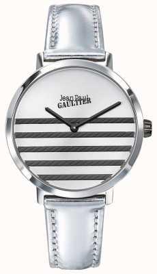 Jean Paul Gaultier Glam navy damski srebrny pasek ze skóry JP8505607