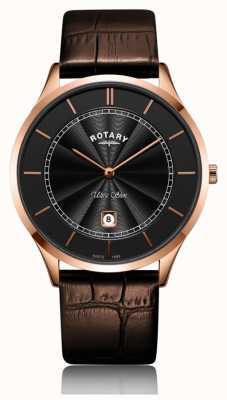 Rotary Męski ultra cienki skórzany pasek w kolorze różowego złota GS08404/04