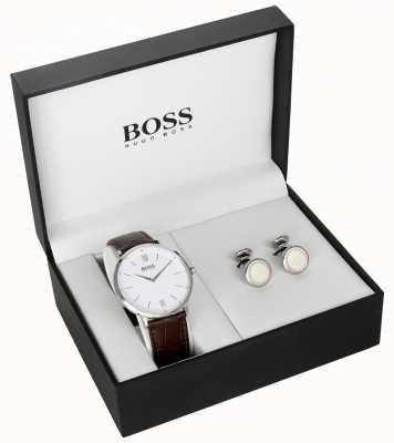 Hugo Boss Męskie brązowe skórzane białe zestaw podarunkowy zestaw do mankietów 1570069