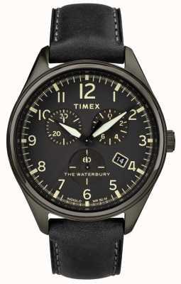 Timex Mens waterbury tradycyjny czarny chrono czarna skóra TW2R88400