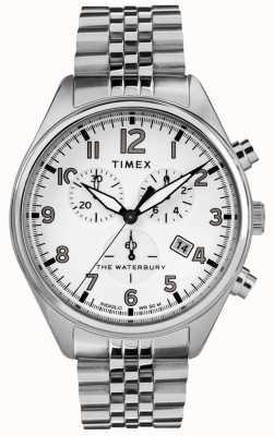 Timex Mens waterbury tradycyjna biała bransoleta ze stali chrono TW2R88500