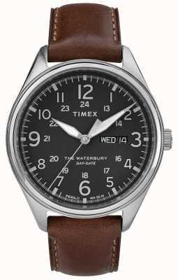 Timex Męska waterbury tradycyjna data data czarny brąz TW2R89000