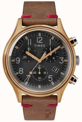 Timex Męskie mk1 sst chrono 42mm brązowy futerał czarny wybierania brązowy pasek TW2R96300