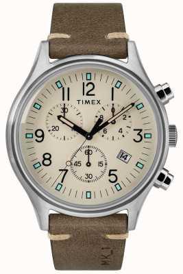 Timex Męskie mk1 sst chrono 42mm koperta brązowy skórzany pasek TW2R96400