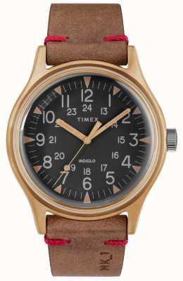 Timex Męskie mk1 sst chrono 40mm brąz skrzynki czarny wybierania brązowy pasek TW2R96700
