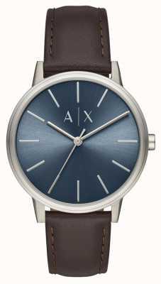 Armani Exchange Męski zegarek z brązowym skórzanym paskiem z niebieską tarczą AX2704