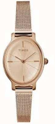 Timex Damski milano owalny zegarek w kolorze różowego złota TW2R94300D7PF