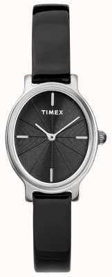 Timex Ladies milano owalne srebrne oczka czarne tarcza TW2R94500D7PF