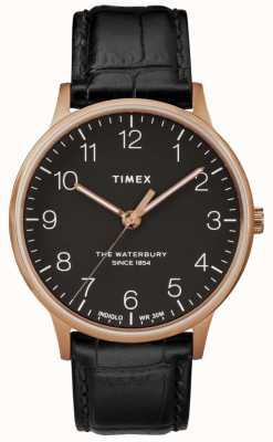 Timex Męski zegarek marki Waterbury z różowego złota z czarnym skórzanym paskiem TW2R96000