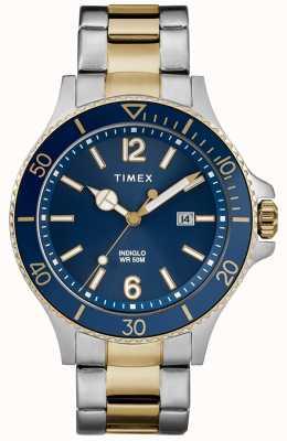 Timex Męska niebieska bransoleta z dwukolorową srebrną i złotą bransoletą TW2R64700D7PF