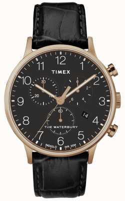 Timex Mens waterbury klasyczny różany złoty zegarek czarny pasek TW2R72000D7PF