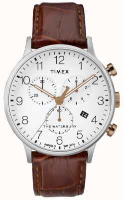 Timex Męski zegarek z wodoszczelnym chronografem z białą tarczą TW2R72100D7PF