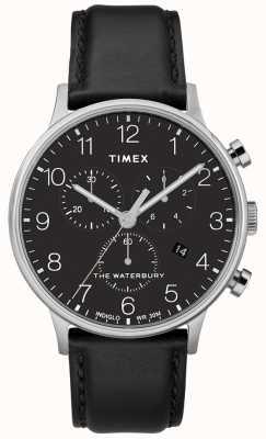 Timex Męski klasyczny zegarek chronografu Waterbury z czarnym paskiem TW2R96100D7PF