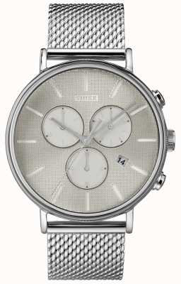 Timex Zegarek ze srebrną siatką chronografu Superfield Fairfield TW2R97900D7PF