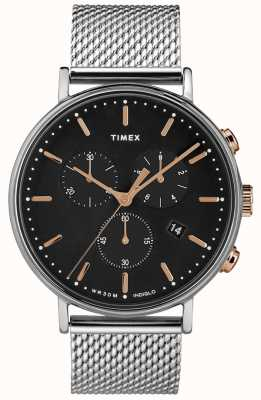 Timex Zegarek z czarnej tarczy Fairfield, srebrny zegarek TW2T11400D7PF
