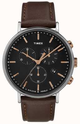 Timex Czarny pasek z czarnym, brązowym paskiem chronografu TW2T11500D7PF