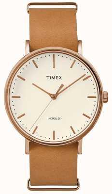 Timex Brązowy pasek Fairfield 3 zegarek na rękę TWF3C8160UK