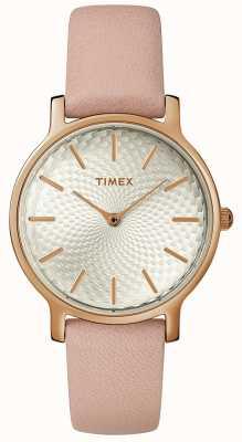 Timex Zegarek skórzany damski metropolitalny zegarek ze srebra różowego złota TW2R85200D7PF