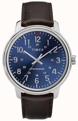 Timex Męski brązowy skórzany zegarek metropolitalny z niebieską tarczą TW2R85400