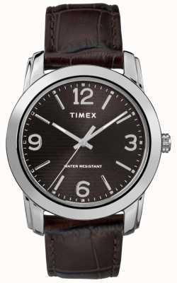 Timex Brązowy pasek ze skóry krokodyla, czarna tarcza TW2R86700