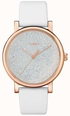Timex Damski biały skórzany zegarek z kryształami swarovskiego TW2R95000D7PF