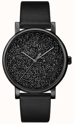 Timex Damski czarny skórzany zegarek z kryształami swarovskiego TW2R95100D7PF