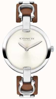 Coach Damski, brązowy skórzany pasek ze skóry i stalowy zegarek 14503090