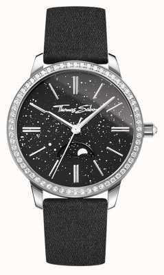 Thomas Sabo Damski zegarek w kolorze glam i soul z czarnym skórzanym paskiem WA0327-209-203-33