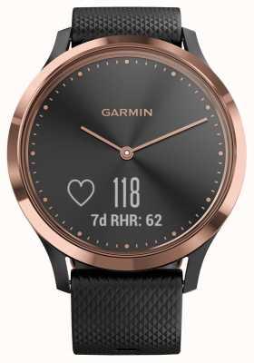 Garmin Vivomove hr Activity Tracker z czarnej gumy w kolorze różowego złota 010-01850-06