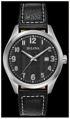Bulova Zegarek męski czarny czarny skórzany pasek wybierania 96B299