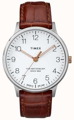 Timex Mens the waterbury - klasyczna biała tarcza z różanymi złotymi dłońmi TW2R95900