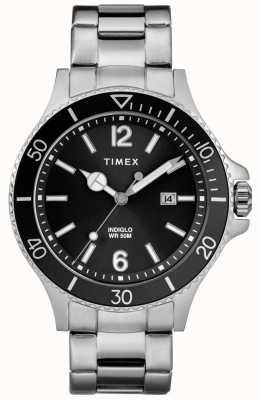 Timex Męska bransoleta ze stali szlachetnej, czarna tarcza TW2R64600