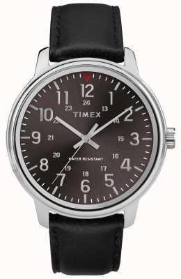Timex Męska klasyczna czarna skóra ze szczotkowaną czarną tarczą TW2R85500