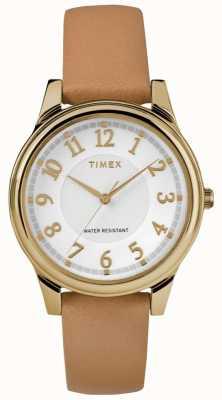 Timex Damski klasyczny skórzany pasek ze skóry w kolorze złotym TW2R87000