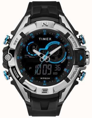 Timex Mens 47mm czarna obudowa chromowany pierścień czarny pasek TW5M23000