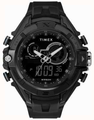 Timex Mens 47mm czarna obudowa czarny pierścionek z czarnym paskiem TW5M23300