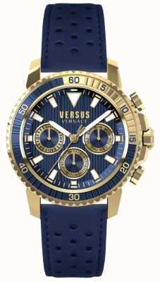 Versus Versace Męski niebieski skórzany pasek z niebieską tarczą S30020017