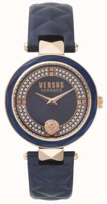 Versus Versace Damskie covent niebieski skórzany pasek ogrodowy niebieski kamień pokrętło SPCD280017