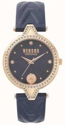 Versus Versace Womens v versus stone set niebieski skórzany pasek z niebieską tarczą SPCI340017
