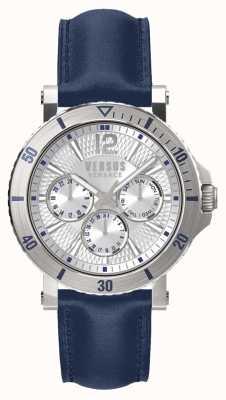 Versus Versace Męski skórzany pasek ze steeringowo srebrnym niebieską tarczą SP52010018