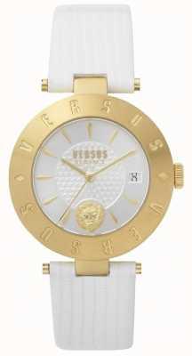Versus Versace Biała biała skórzana naszywka z logo marki SP77210018