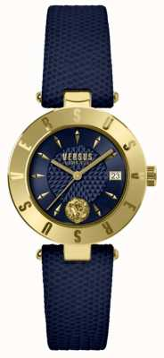 Versus Versace Logo damskie niebieski niebieski skórzany pasek wybierania SP77220018