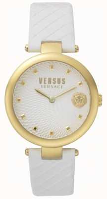 "Versus Versace Damski, biały skórzany pasek typu ""white buffle bay"" SP87020018"